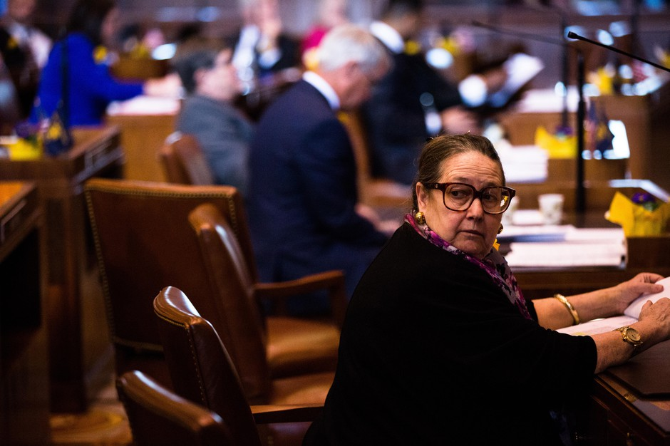 State Sen. Betsy Johnson, D-Scappoose, in the Oregon Senate on Monday, Jan. 14, 2019, in Salem, Ore.