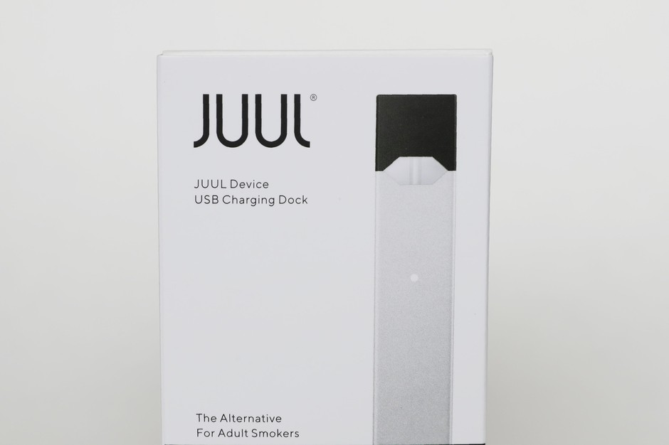 An electronic cigarette packaging from Juul Labs is seen on Tuesday, Feb. 25, 2020, in Pembroke Pines, Fla.
