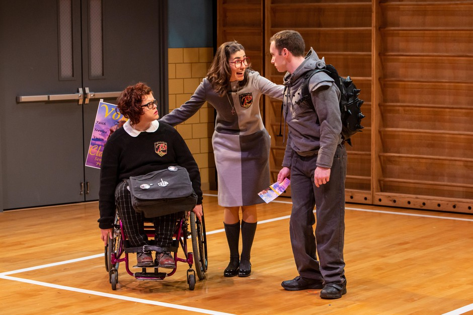 "Tess Raunig (left) as Buck, *Alex Ramirez de Cruz (center) as Clarissa, and Christopher Imbrosiano (right) as Richard in Artist Repertory Theatre's 2019 production of Mike Lew's ""Teenage Dick""."