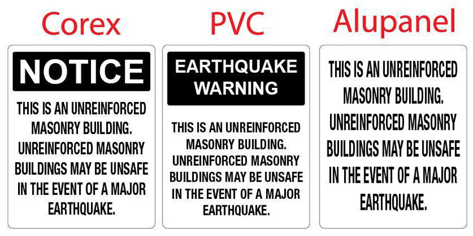 Sample placards used to notify tenants and visitors that the structure is an Unreinforced Masonry Building.