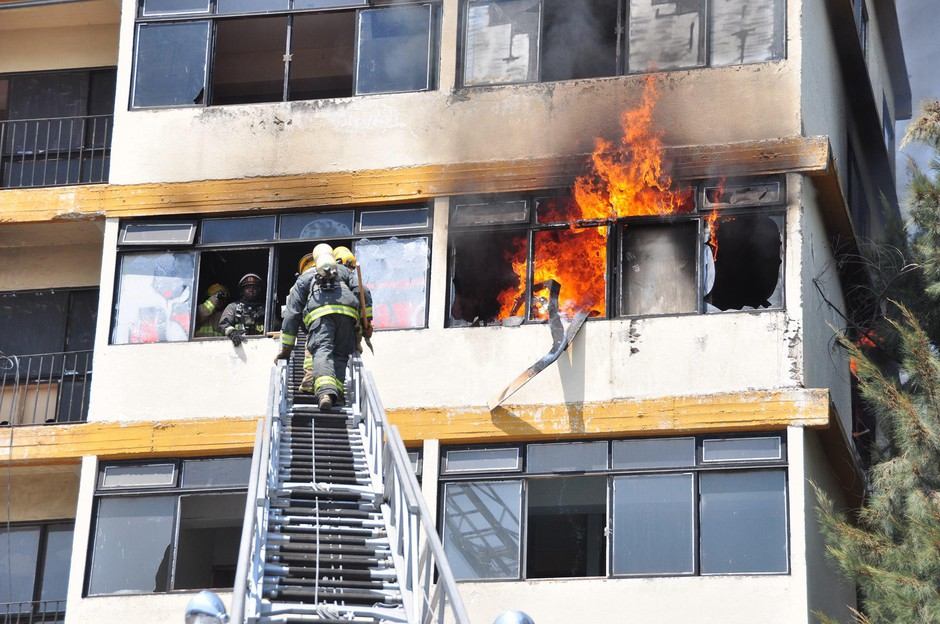 Firefighters participate in a high-rise firefightingtraining in Latin America in 2012.
