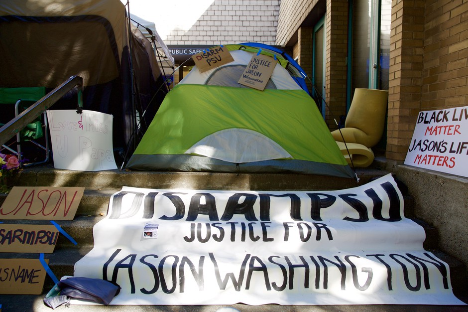 The Disarm PSU encampment outside the Portland State University Campus Public Safety office is pictured Oct. 3, 2018.