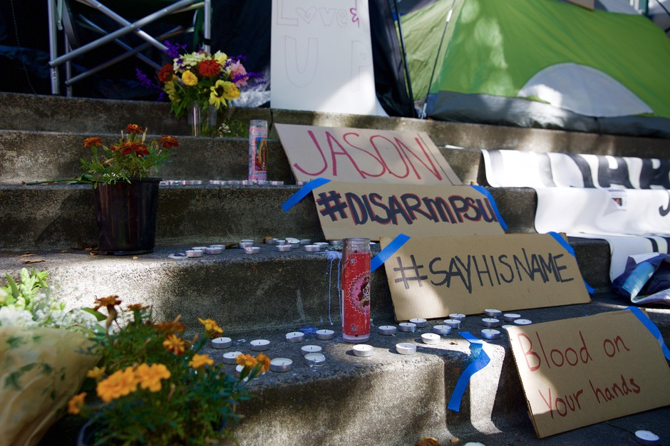 Disarm PSU encampment outside the Campus Public Safety office.