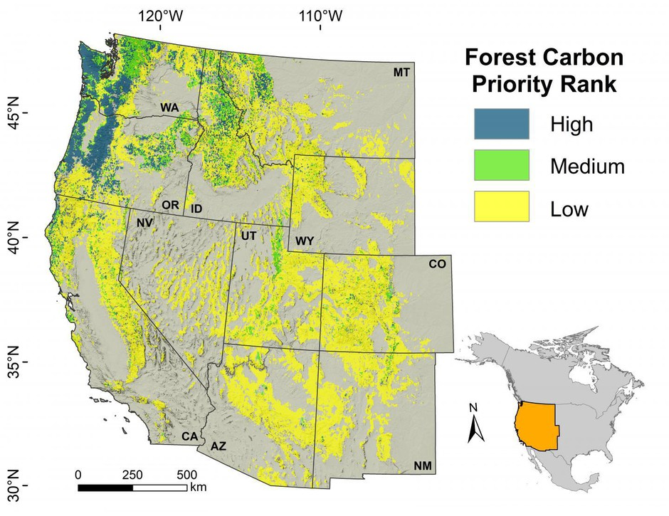 This map illustrates the carbon sequestration potential of forests across the West, according to new research findings.