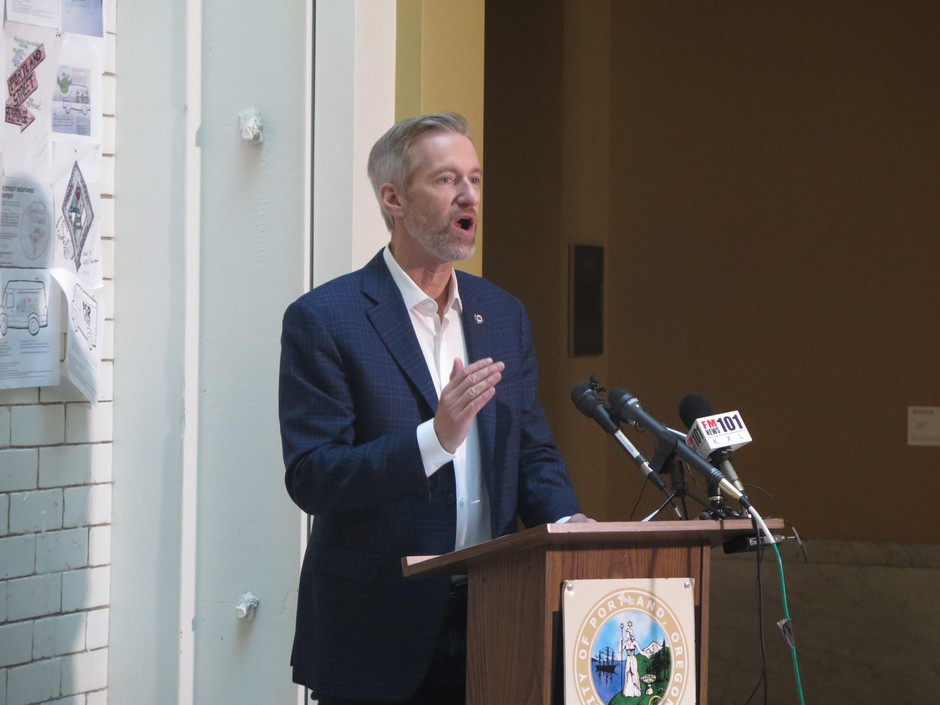 Portland mayor Ted Wheeler speaks about Portland Street Response Nov. 14, 2019, at Portland City Hall.