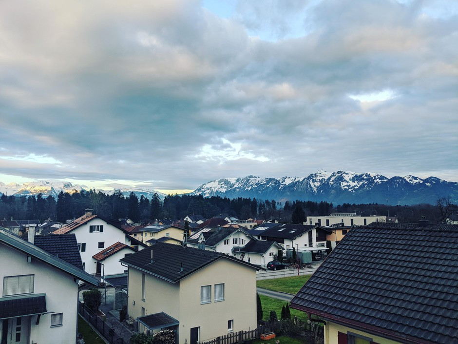 The view from Budwig's hotel in Austria on the day when his first gig was cancelled.