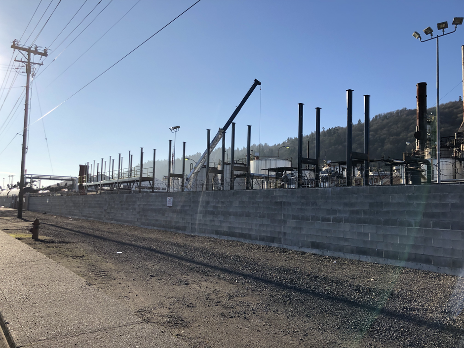 Construction at the Zenith Terminals site in Northwest Portland in early February, 2019.