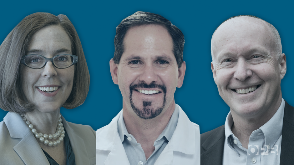 The three major-party candidates in the 2018 race for Oregon governor are Gov. Kate Brown (Democrat), Rep. Knute Buehler (Republican) and Patrick Starnes (Independent).