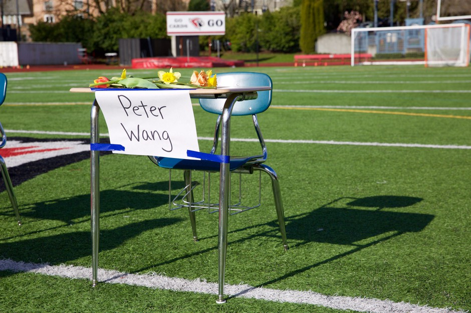 One of 17 desks that lined across the football field at Lincoln High School in honor of the victims of the Parkland, Florida, high school shooting on Feb. 14, 2018.