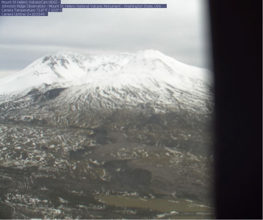 A Jan. 11, 2019, screenshot shows one of the Forest Service's Mount St. Helens webcamsout of focus after rough weather. The other has been offline since mid-December.