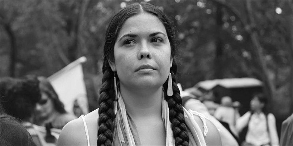 Tribal attorney Tara Houskahas been a fierce advocate against fossil fuels and oil pipelines.