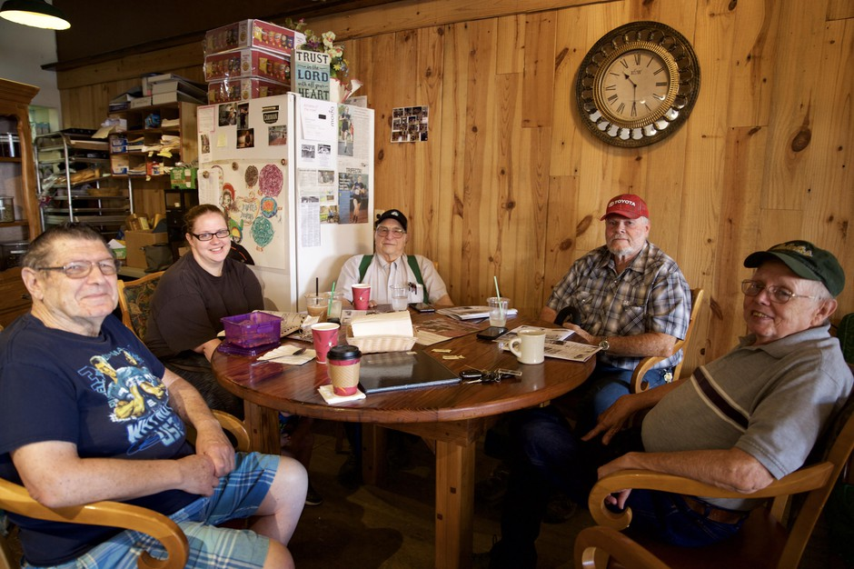 Mike Murray, Katie Ryan, Preston Hill, Jack Stevens and Michael Ryan at the Bridge Street Coffee House in Sheridan, Ore.