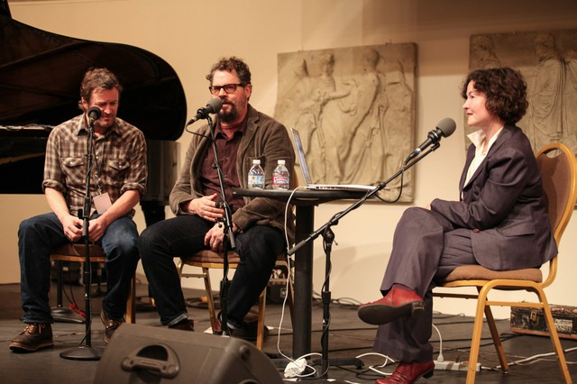 Willy Vlautin (left) and Patterson Hood speak with April Baer atWordstock.