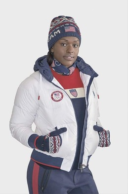 Aja Evans, a U.S. Olympic bobsledder, wears the uniform that will be featured during the closing ceremony of the 2018 Winter Olympics. The sweater, hat and gloves were made using wool from Imperial Stock Ranch in Shaniko, Ore.