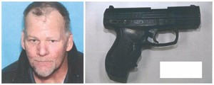 Don Allan Perkins and the replica firearm found near him after he was shot by police officers.