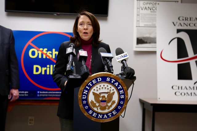 U.S. Senator Maria Cantwell stopped in Vancouver to sound the alarm on offshore drillingin waters off Washington.