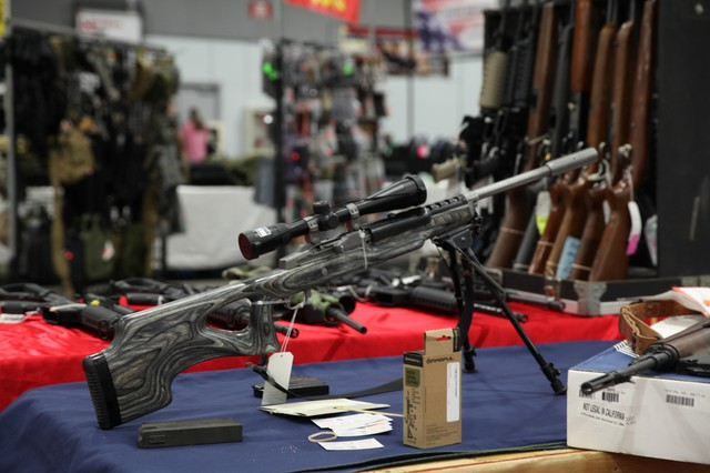 A rifle on display at the gun show.