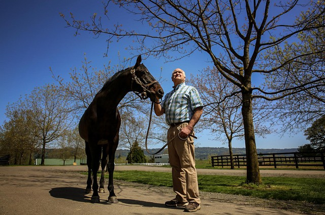 Jack Root and his stallion Grindstone, the winner of the 1996 Kentucky Derby.
