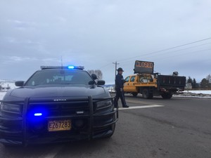 At least 40 miles of Highway 395 were shutdown aftermilitants were arrested while traveling to John Day from Burns to host a community meeting.