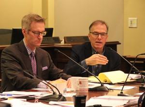 Portland Mayor Ted Wheeler (left) and Commissioner Nick Fish (right) attending a council work session on solutions for preserving creative space.