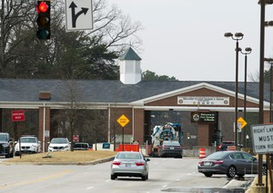 Fort Meade gate next to the The National Security Agency is seen Wednesday, Feb. 14, 2018, in Fort Meade, Md.
