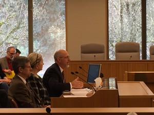 Oregon Department of Environmental Quality Director Dick Pedersen tells a legislative committee his plans for improving state air pollution regulations.