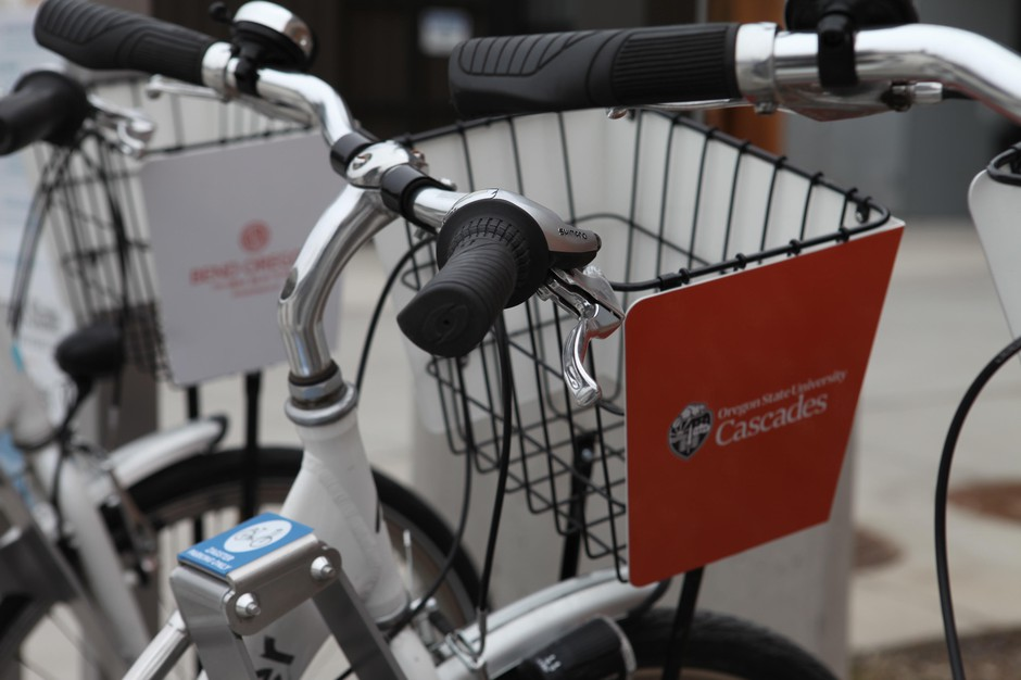 Oregon State University-Cascades has just three buildings, but an on-campus bike share system to help students get around, as the campus grows.